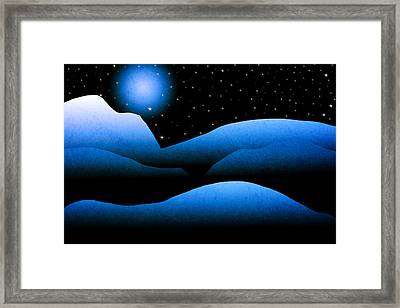 Blue Moon Mountain Landscape Art Framed Print by Christina Rollo