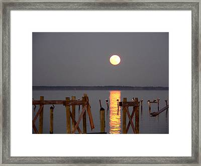 Blue Moon On The Bay On New Years Eve 2009 Framed Print