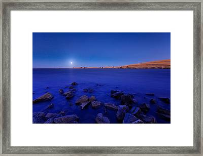 Blue Moon On The Rocks Framed Print