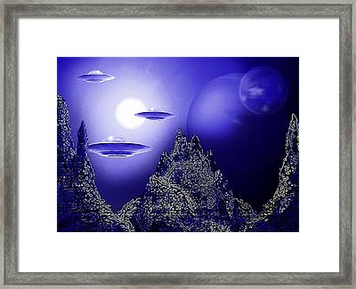 Blue Moon Over An Alien Planet Framed Print