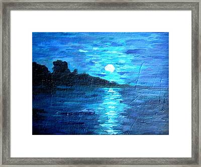 blue moon over lake couer da  lane Idaho Framed Print
