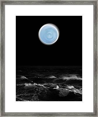 Blue Moon Over The Sea Framed Print