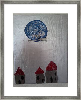 Blue Moon Red Roof Framed Print