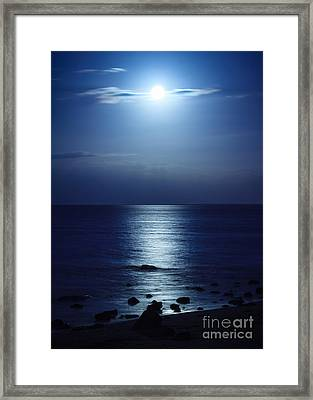Blue Moon Rising Framed Print by Peta Thames