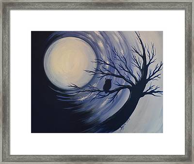 Blue Moon Vortex With Owl Framed Print