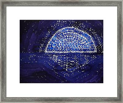 Blue Moonrise Original Painting Framed Print by Sol Luckman