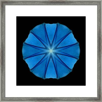 Framed Print featuring the photograph Blue Morning Glory Flower Mandala by David J Bookbinder