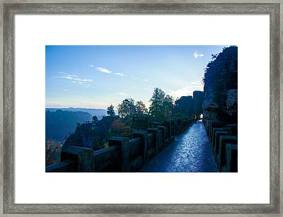 Blue Morning On The Bastei Framed Print