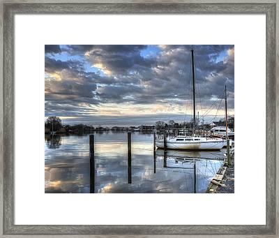Blue Morning Reflections Framed Print by Vicki Jauron