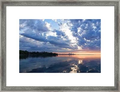 Blue Morning Zen - Toronto Skyline Impressions Framed Print by Georgia Mizuleva