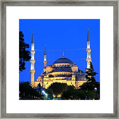 Blue Mosque At Dawn Framed Print by Stephen Stookey