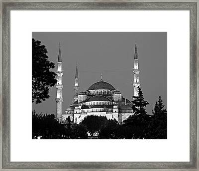 Blue Mosque In Black And White Framed Print