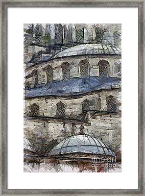 Blue Mosque Sketch Framed Print