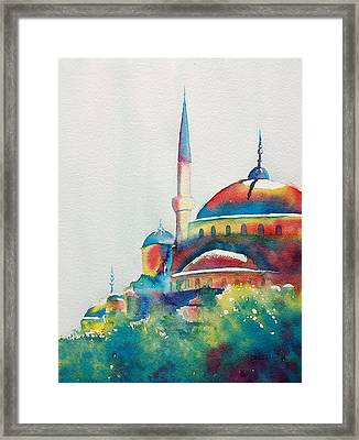 Blue Mosque Sun Kissed Domes Framed Print
