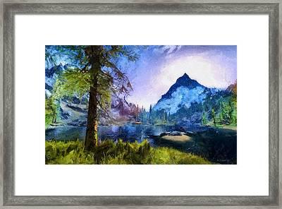 Blue Mountain Of Skyrim Framed Print by Kai Saarto