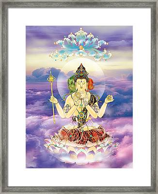 Blue-neck Kuan Yin Framed Print by Lanjee Chee