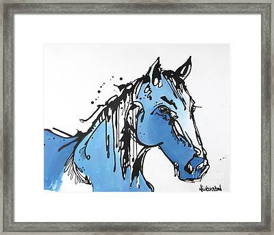 Framed Print featuring the painting Blue by Nicole Gaitan
