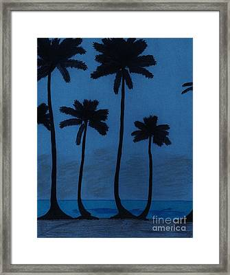 Blue - Night - Beach Framed Print