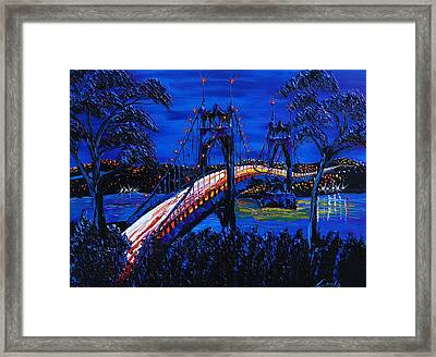 Blue Night Of St. Johns Bridge 12 Framed Print by Portland Art Creations