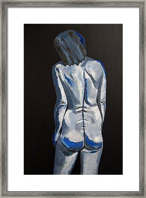 Blue Nude Self Portrait Framed Print by Sandra Marie Adams