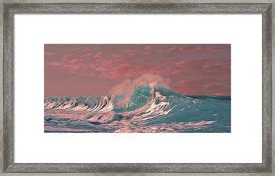 Framed Print featuring the digital art Blue Ocean Wave by Timothy Hack