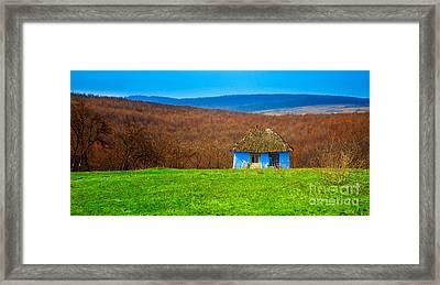 Blue Old Cottage Framed Print by Gabriela Insuratelu