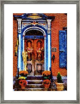 Blue On Brick - Jim Thorpe Autumn Door Framed Print by Janine Riley