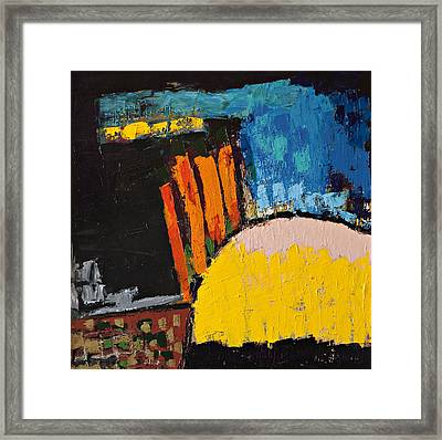 Blue Orange And Yellow Abstract Framed Print by Maggis Art