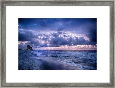 Framed Print featuring the digital art Blue Orange Beach by Michael Thomas