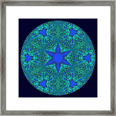 Blue Ornamental Mandala Framed Print