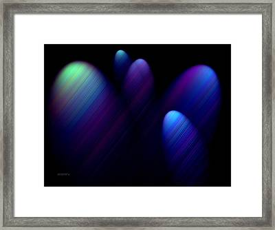 Blue Ovals With Lines Framed Print by Mario Perez