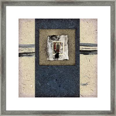 Blue Paint And Papers Framed Print by Carol Leigh