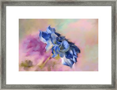 Blue Painted Flower Framed Print by Mary Timman