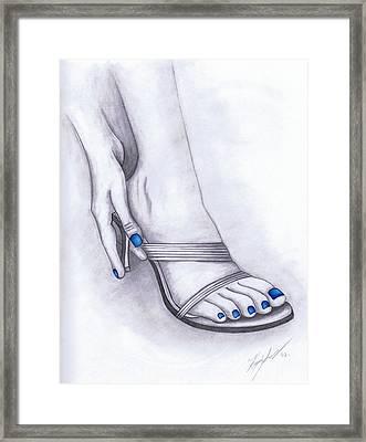 Blue Painted Toenails Framed Print by Kamil Swiatek