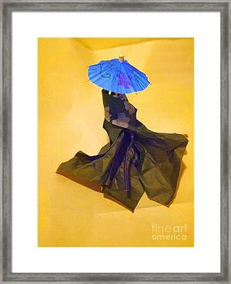 Blue Parasol Framed Print