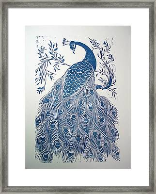 Blue Peacock Framed Print by Barbara Anna Cichocka