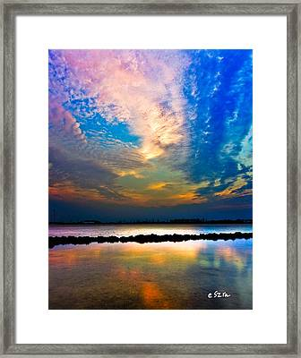 Framed Print featuring the photograph Blue Pink Clouds Reflection Lake Landscape Vertical Panorama Art Prints by Eszra Tanner