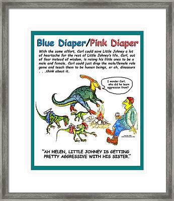 Blue Pink Counseling Poster Framed Print