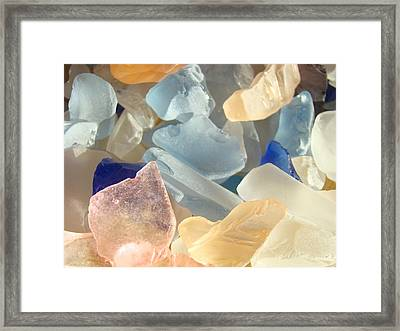 Blue Pink Orange Seaglass Beach Garden Framed Print by Baslee Troutman