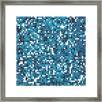 Framed Print featuring the digital art Blue Pixel Art by Mike Taylor