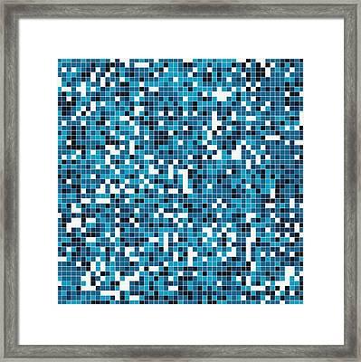 Blue Pixel Art Framed Print by Mike Taylor