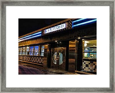 Blue Plate Diner Framed Print by Nancy De Flon