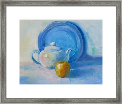 Blue Plate Special Framed Print by Valerie Lynch