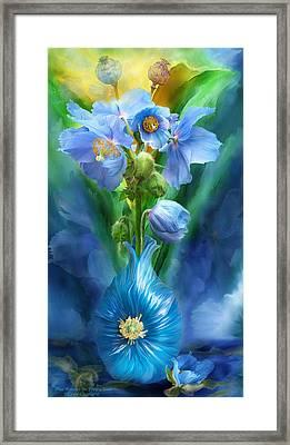 Blue Poppies In Poppy Vase Framed Print by Carol Cavalaris