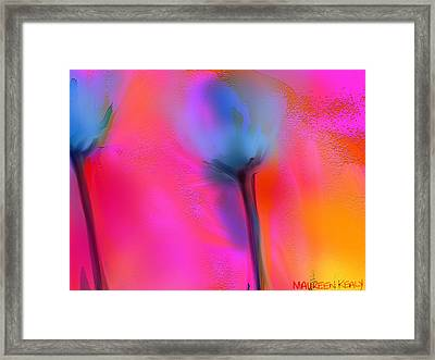 Blue Poppies Framed Print by Maureen Kealy