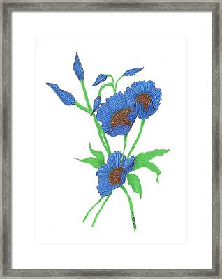 Blue Poppies Framed Print by Milton Rogers