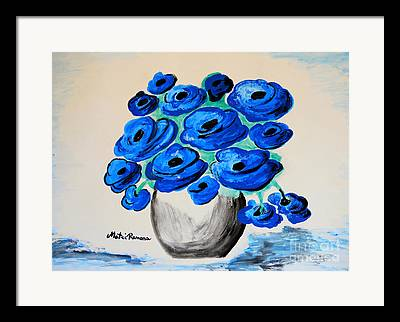 All Blue Poppies Framed Prints