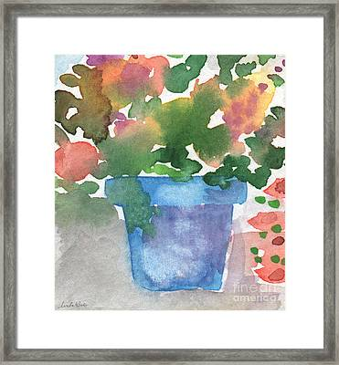 Blue Pot Of Flowers Framed Print by Linda Woods