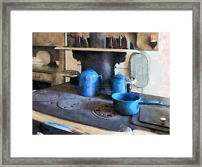 Blue Pots On Stove Framed Print by Susan Savad