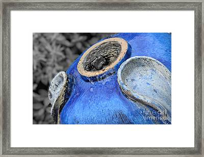 Blue Pottery Fountain Framed Print by Ella Kaye Dickey